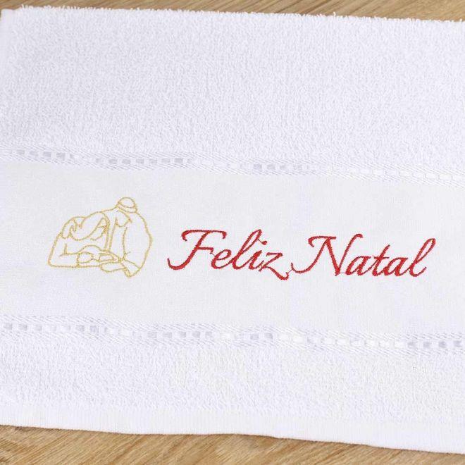 Toalha Lavabo Branca Feliz Natal 28 x 50cm - Modelo 06