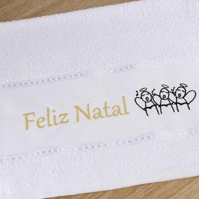 Toalha Lavabo Branca Feliz Natal 28 x 50cm - Modelo 07