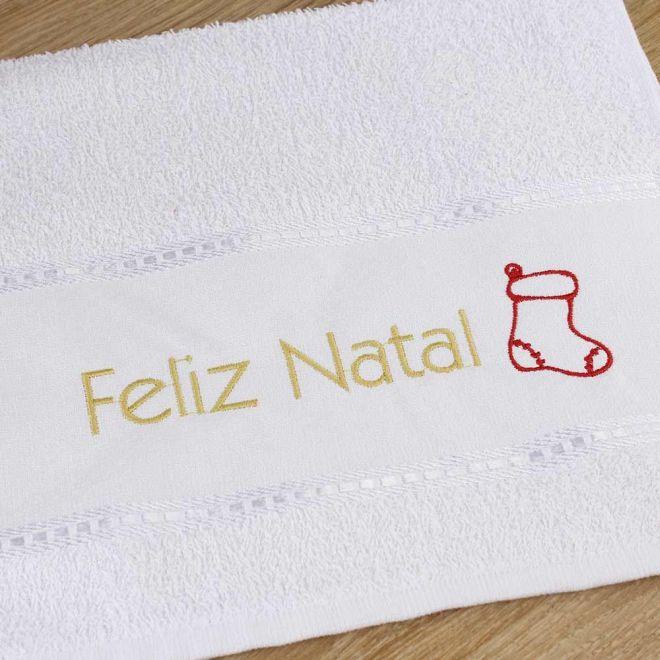 Toalha Lavabo Branca Feliz Natal 28 x 50cm - Modelo 09