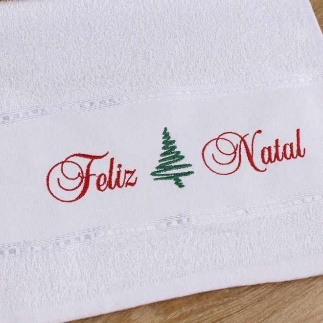 Toalha Lavabo Branca Feliz Natal 28 x 50cm - Modelo 13