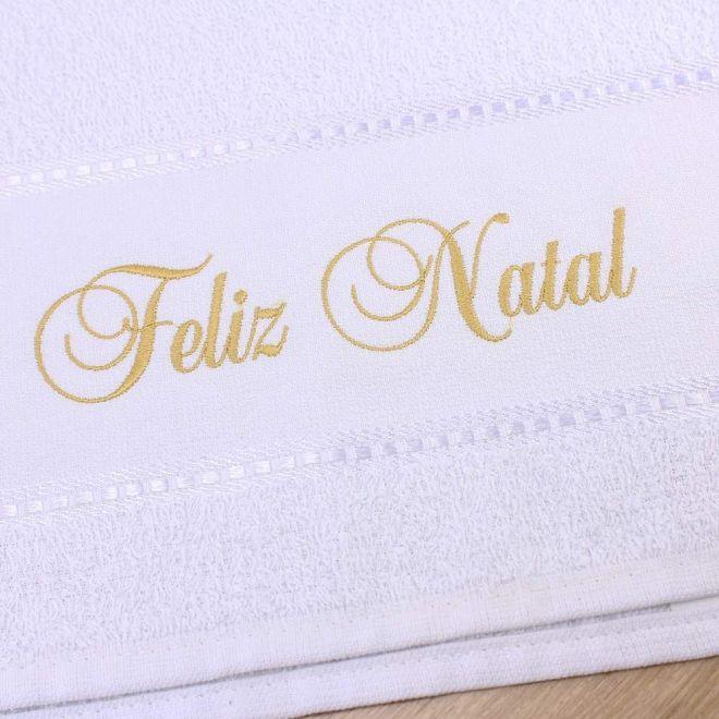Toalha Lavabo Branca Feliz Natal 28 x 50cm - Modelo 14
