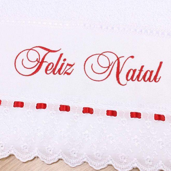Toalha Lavabo Garmisch Branca Feliz Natal C/ Bordado Inglês e Passa Fita - 28 x 50cm