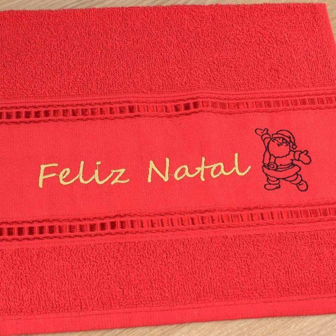 Toalha Lavabo Vermelha Feliz Natal 28 x 50cm - Modelo 05