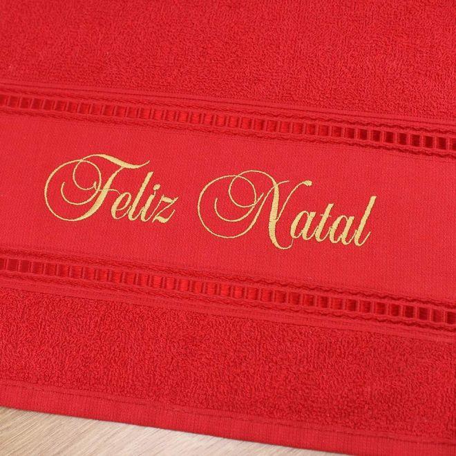 Toalha Lavabo Vermelha Feliz Natal 28 x 50cm - Modelo 15