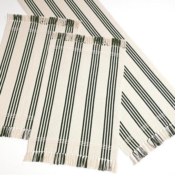 Trilho Listrado 50 x 150 cm - Artesanal Teares - Preto