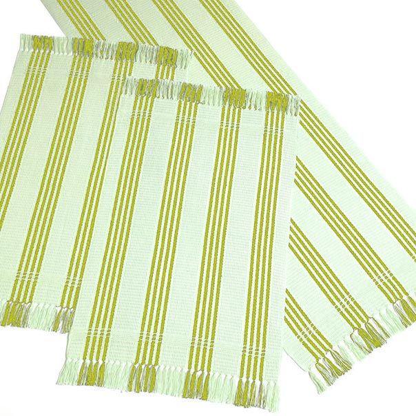 Trilho Listrado 50 x 70 cm - Artesanal Teares - Verde Musgo