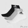 Kit com 3 Meias Adidas Acolchoada Cano Curto Preta, Cinza e Branca
