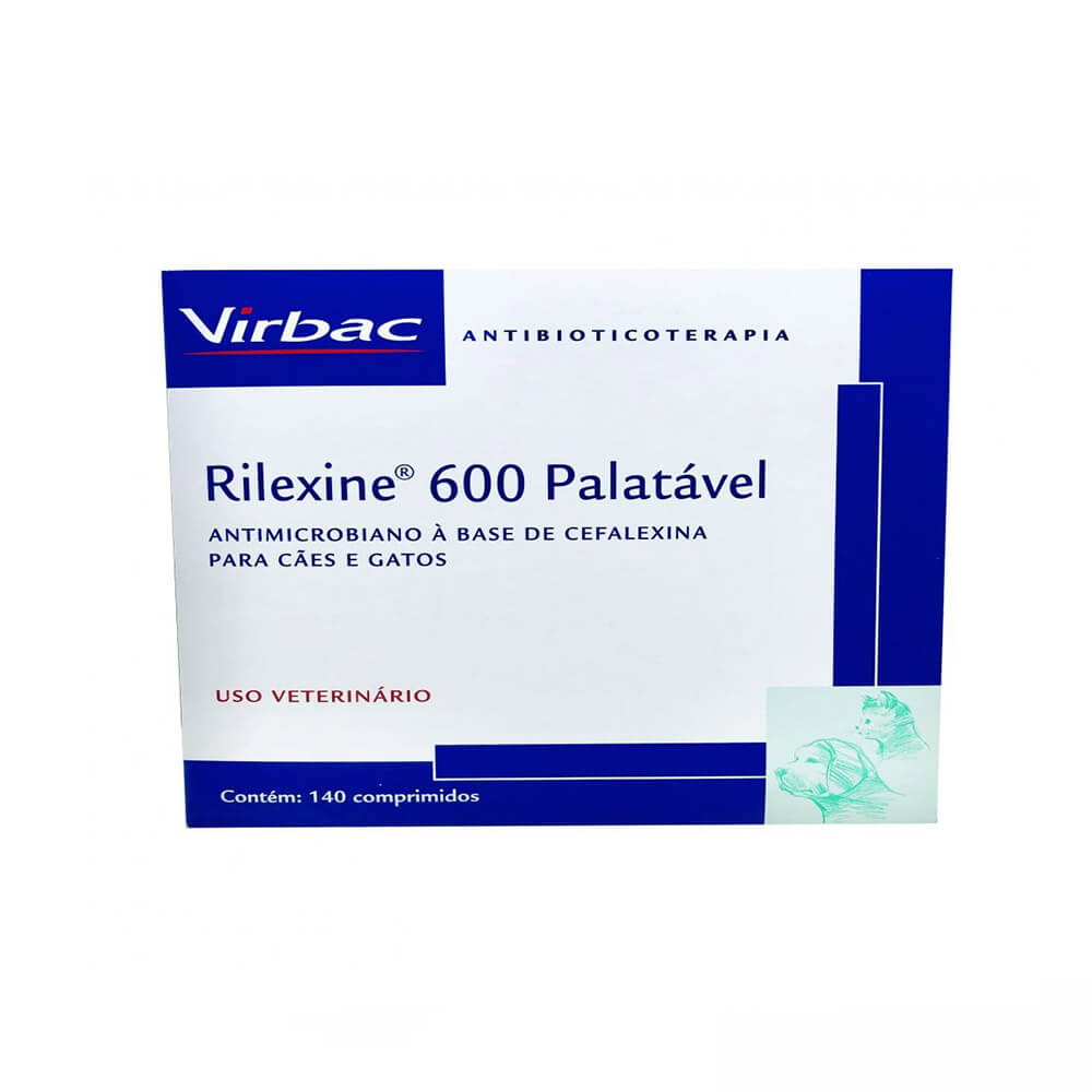 Antimicrobiano Rilexine Palatável Virbac 600 mg 7 Comprimidos