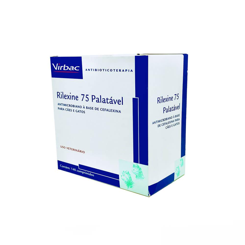 Antimicrobiano Rilexine Palatável Virbac 75 mg 7 Comprimidos