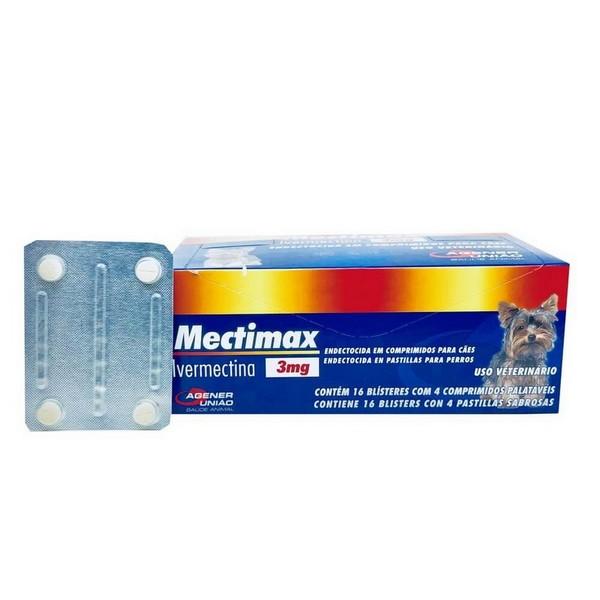Antiparasitário Mectimax 3 mg Agener União 4 Comprimidos Cartela Avulsa