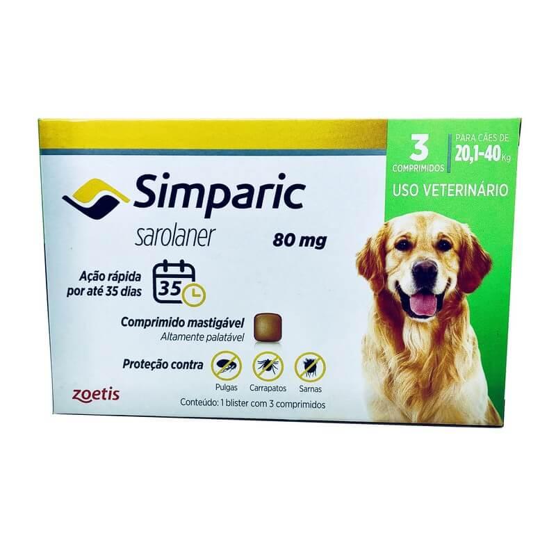 Antipulga e Carrapatos Simparic 80 mg Cães 20,1 a 40kg 3 Comprimidos
