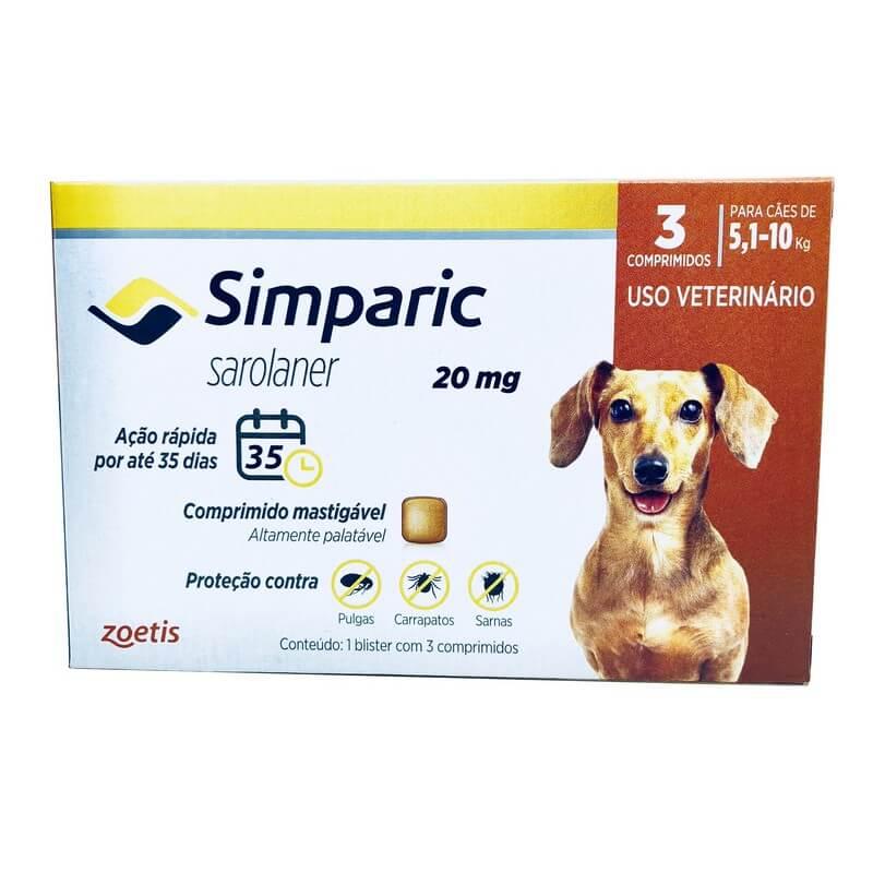 Antipulgas Carrapatos Simparic 20 mg Cães 5,1 a 10kg 3 Comprimidos