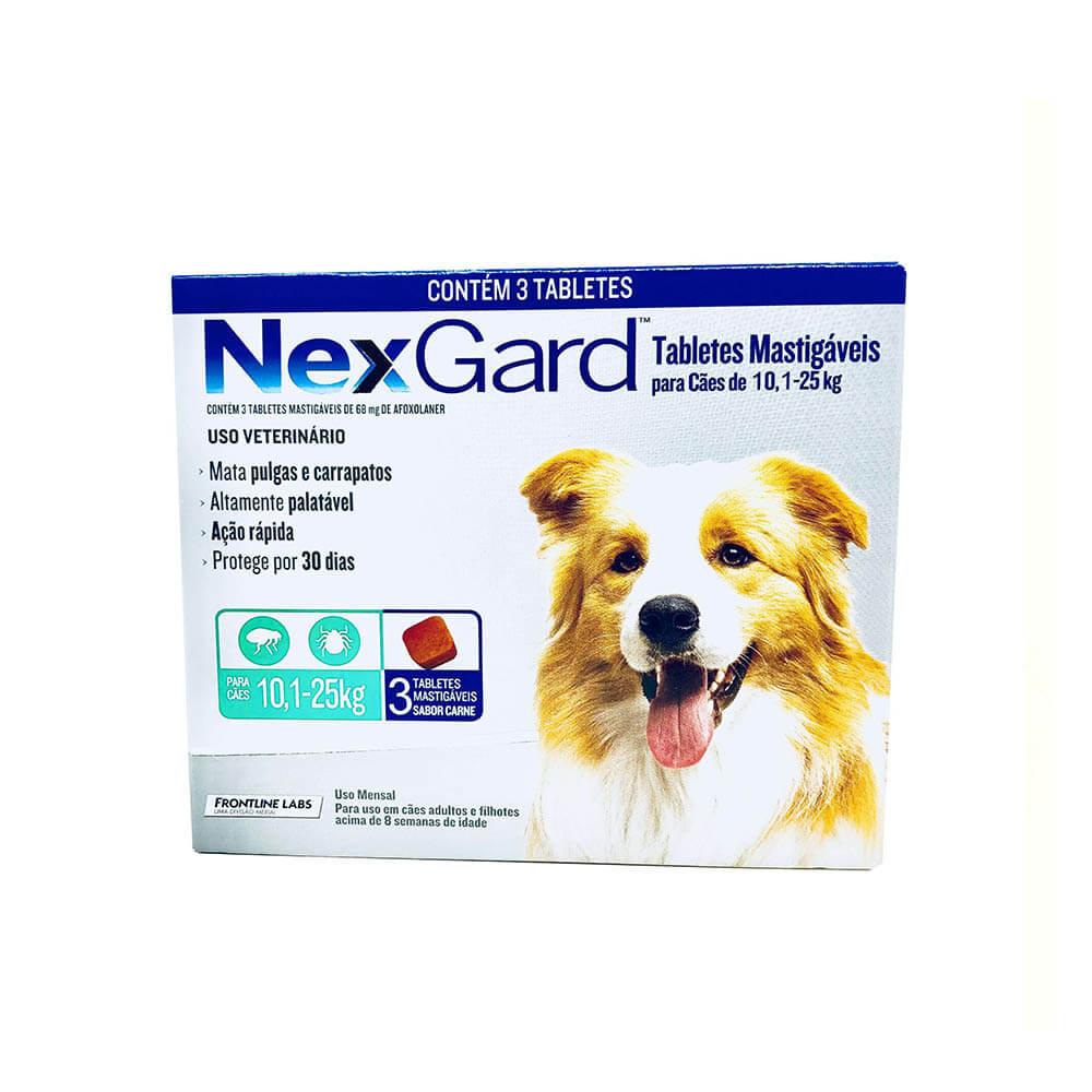 Antipulgas e Carrapaticida NexGard Cães 10,1 a 25kg Boerhinger 3 Tabletes