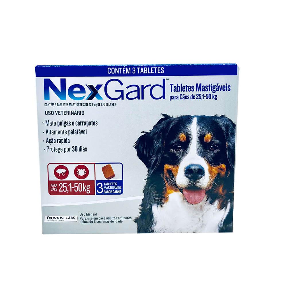 Antipulgas e Carrapaticida NexGard Cães 25,1 a 50kg Boerhinger 3 Tabletes