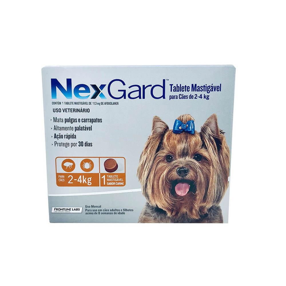 Antipulgas e Carrapaticida NexGard Cães 2 a 4kg Boerhinger 3 Tabletes