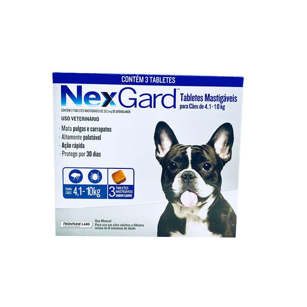 Antipulgas e Carrapaticida NexGard Cães 4,1 a 10Kg Boerhinger 3 Tabletes