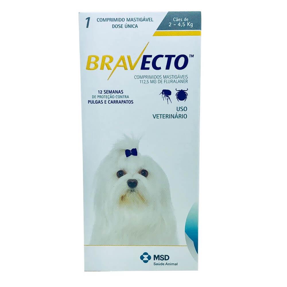 Antipulgas e Carrapatos Cães Bravecto MSD 2 a 4,5 kg