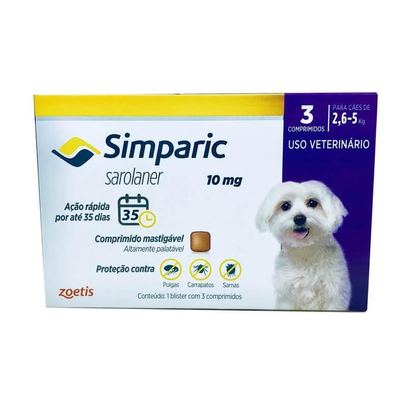 Antipulgas Simparic Zoetis 10 mg Cães de 2,6 a 5 kg  3 Comprimidos