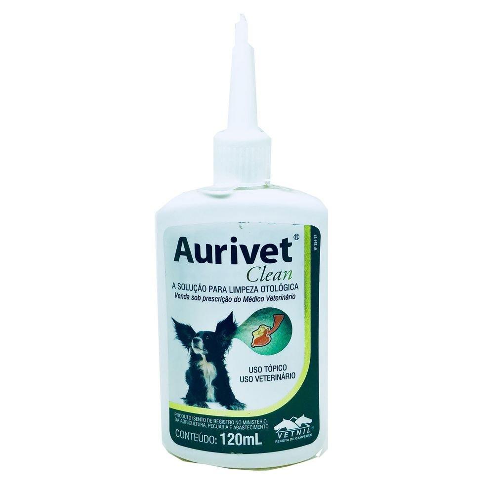 Aurivet Clean Solução para Limpeza de Ouvido Cães e Gatos Vetnil 120ml