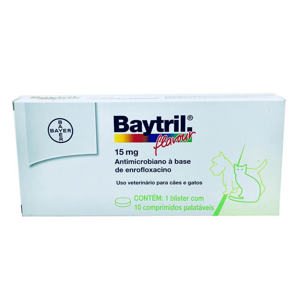 Baytril Flavour 15mg Bayer 10 comprimidos
