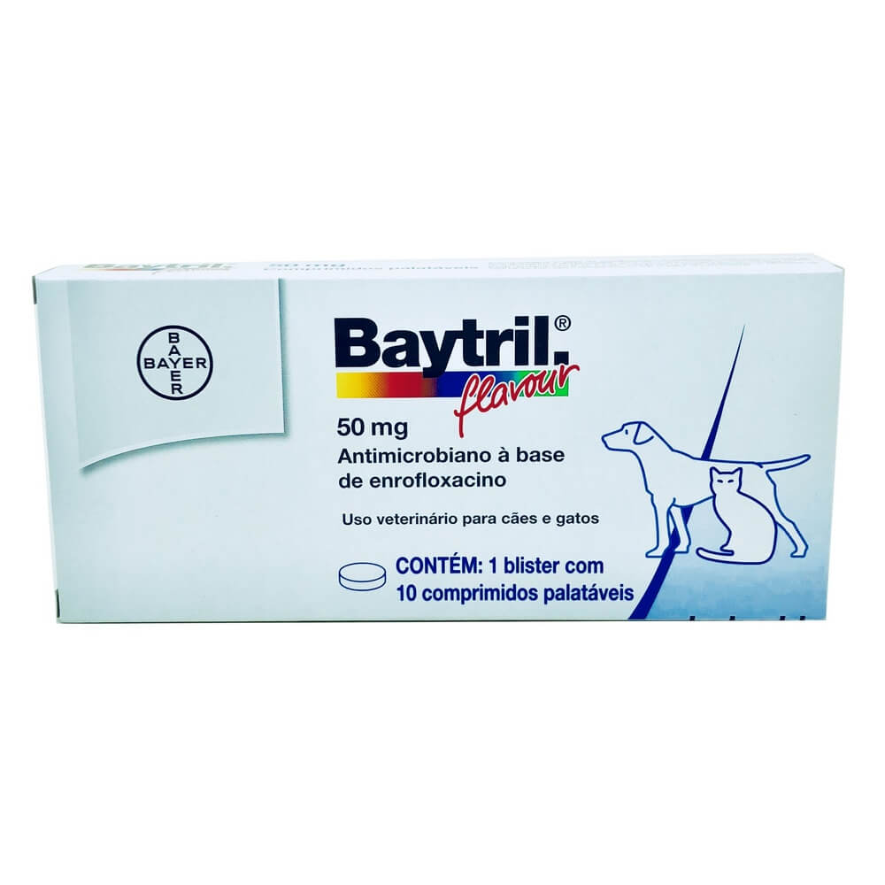 Baytril Flavour 50mg Bayer 10 comprimidos