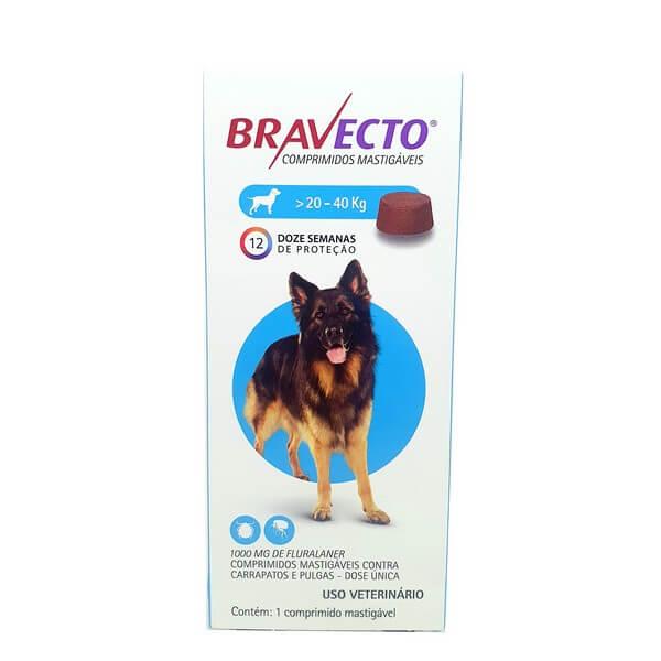 Bravecto Antipulgas e Carrapato Cães de 20 a 40 kg