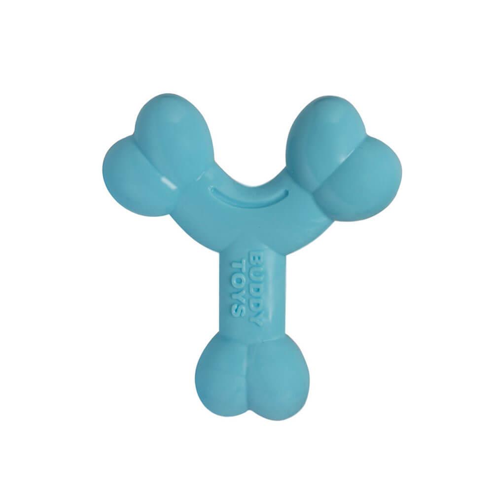 Brinquedo Ossinho Azul para Cães Filhotes Pequeno e Médio Porte Buddy Toys