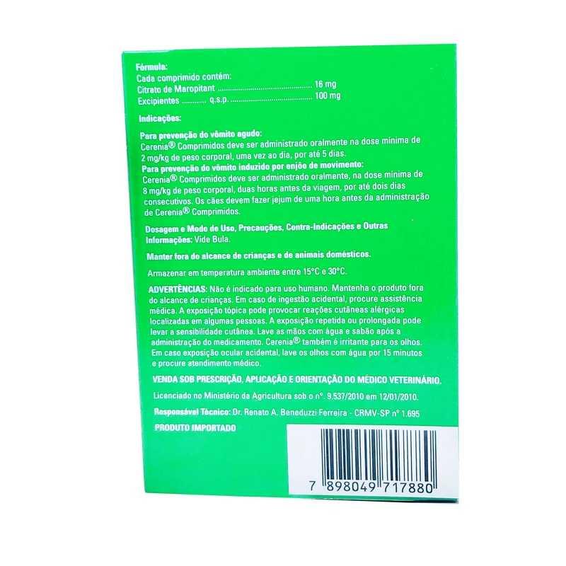 Cerenia Antiemético16mg Zoetis 4 Comprimidos