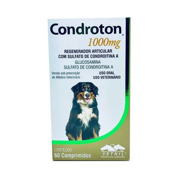 Condroton Regenerador Articular para Cães Vetnil 1000mg 60 Comprimidos