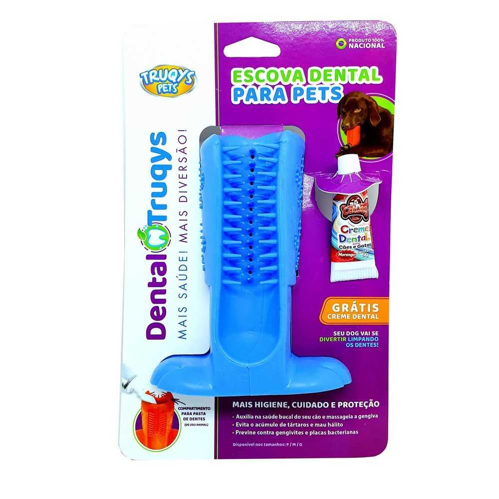 Dental Truqys Escova Dental Grande Para Cães Cor Azul
