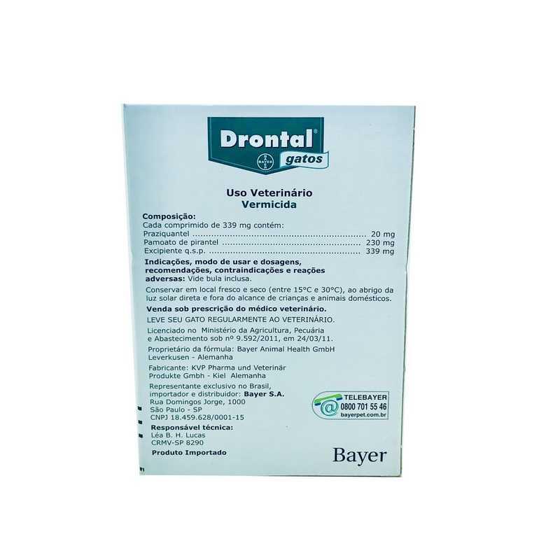 Drontal Vermífugo Bayer Para Gatos 4 comprimidos