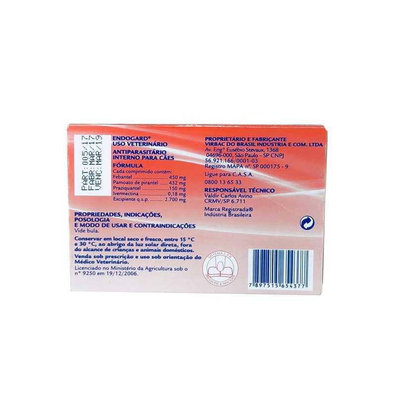 Endogard Vermífugo Virbac 30kg 6 Comprimidos