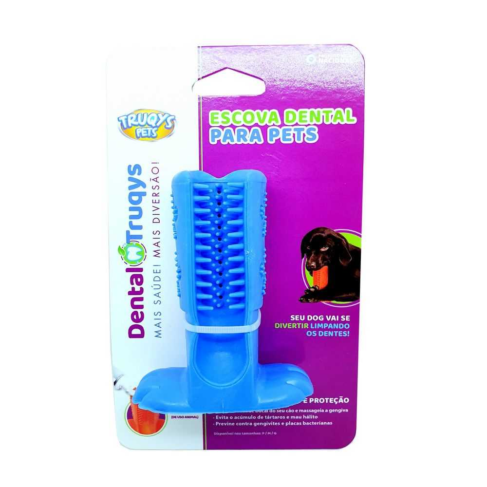 Escova Dental Para Cães Dental Truqys Pequeno Cor Azul