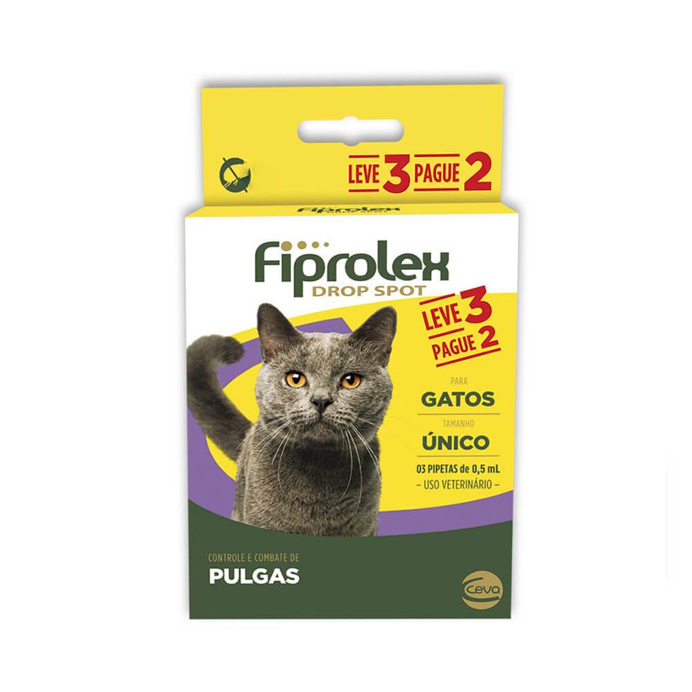 Fiprolex 0,5mL Combo Antipulgas e Carrapaticida Gatos Leve 3 pague 2