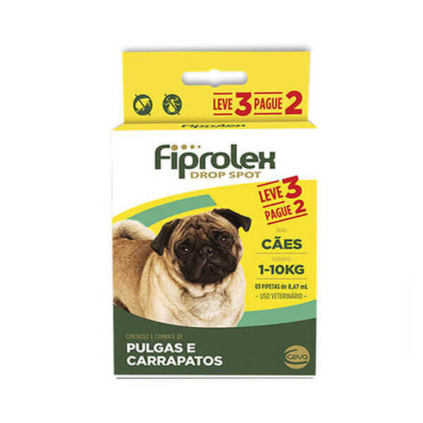Fiprolex 0,67mL Combo Antipulgas e Carrapaticida Cães até 10kg Leve 3 pague 2