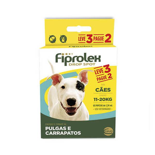 Fiprolex 1,34mL Combo Antipulgas e Carrapaticida Cães 11 a 20kg Leve 3 pague 2
