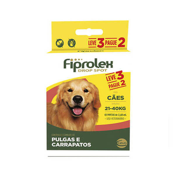 Fiprolex 2,68mL Combo Antipulgas e Carrapaticida Cães 21 a 40kg Leve 3 pague 2