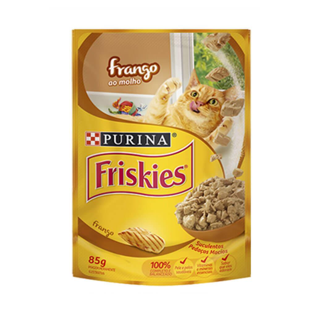Friskies Ração Úmida para Gatos Adultos Frango ao Molho Purina Sache 85g