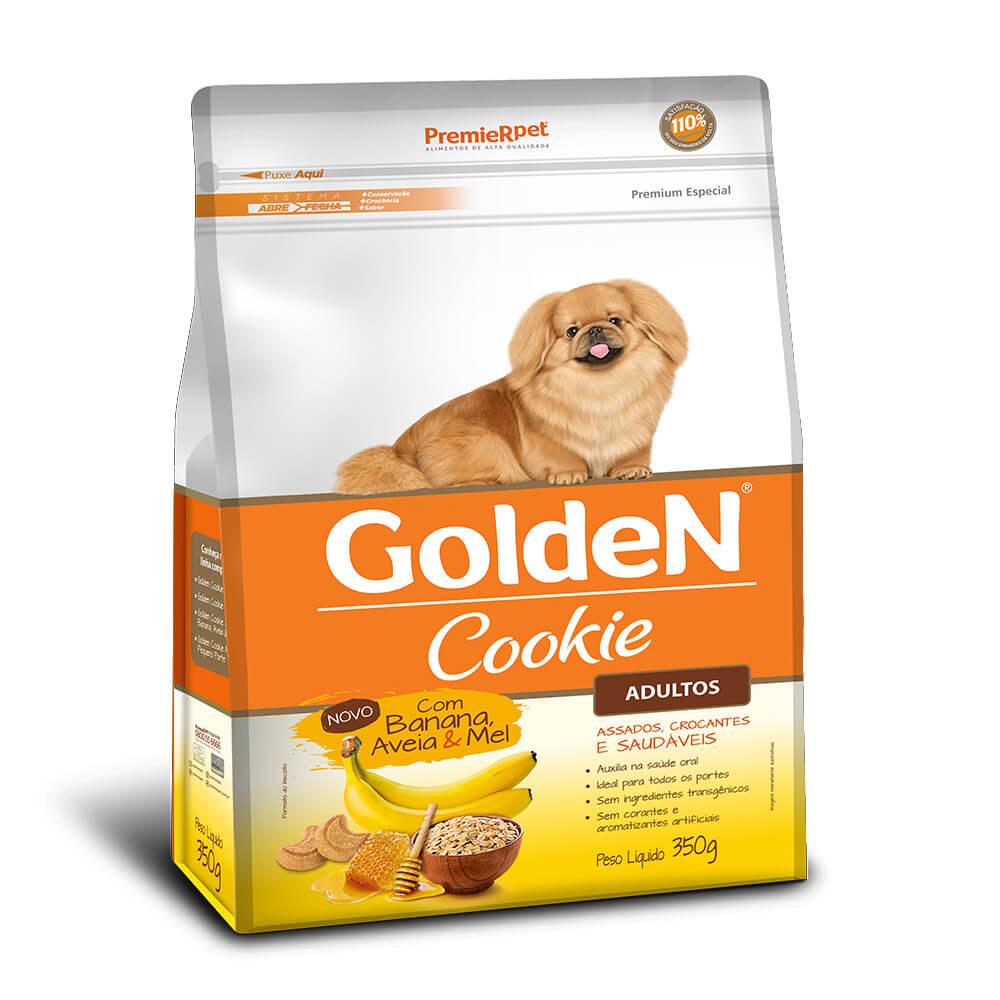 Golden Cookie Adulto Premier Pet Sabor Banana Aveia e Mel 350g