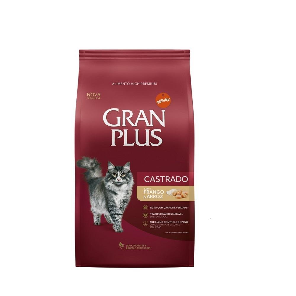Gran Plus Gatos Adultos Castrados Frango e Arroz 10,1kg - 10 pacotes 1kg