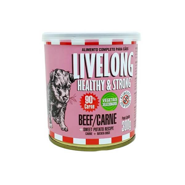 Livelong Alimento Úmido Natural Para Cães Carne 300g