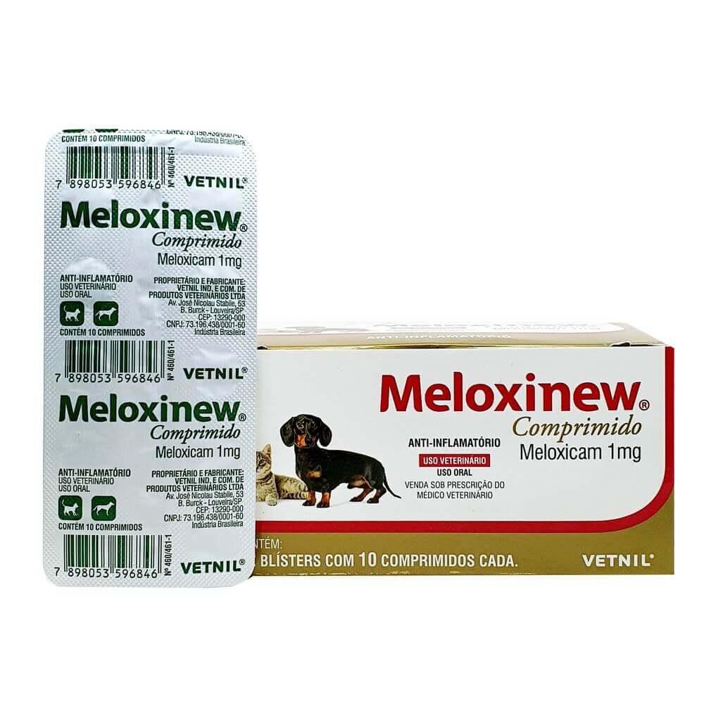 Meloxinew Anti-inflamatório Cães e Gatos 1mg 10 comprimidos