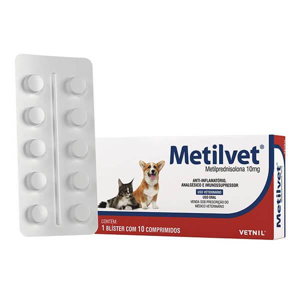 Metilvet Anti-inflamatório 10 mg para Cães e Gatos Vetnil Cartela Avulsa 10 Comprimidos