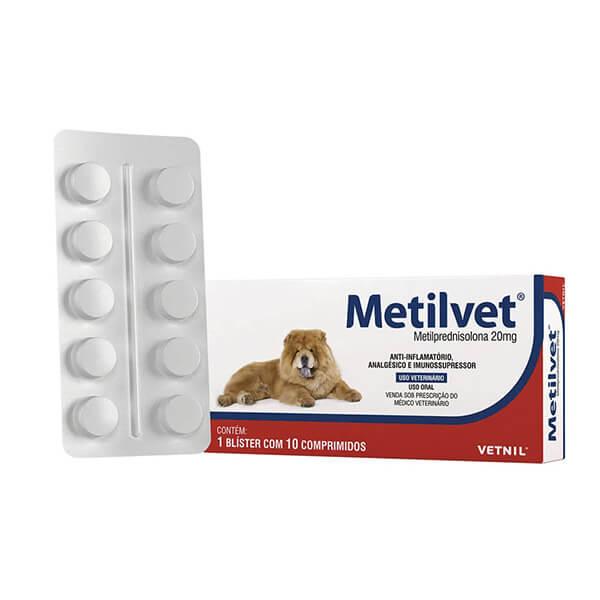 Metilvet Anti-inflamatório 20 mg para Cães e Gatos Vetnil Cartela Avulsa 10 Comprimidos
