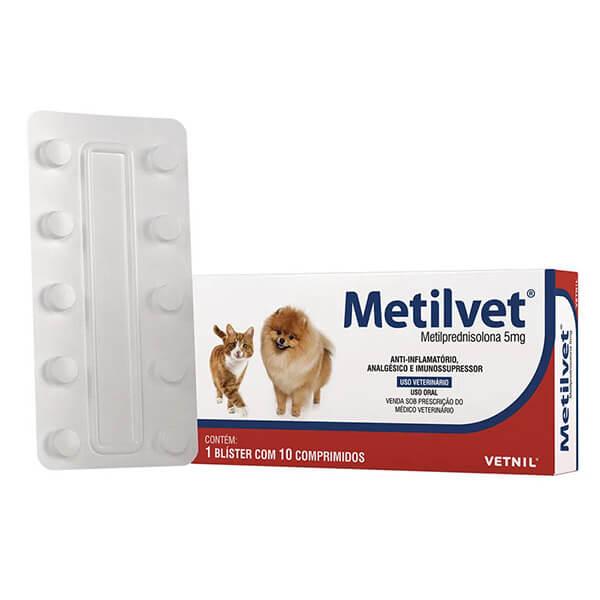 Metilvet Anti-inflamatório 5 mg para Cães e Gatos Vetnil Cartela Avulsa 10 Comprimidos