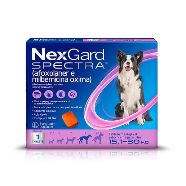 NexGard Spectra Antipulgas e Carrapatos para Cães de 15,1 a 30kg tablete sabor Carne