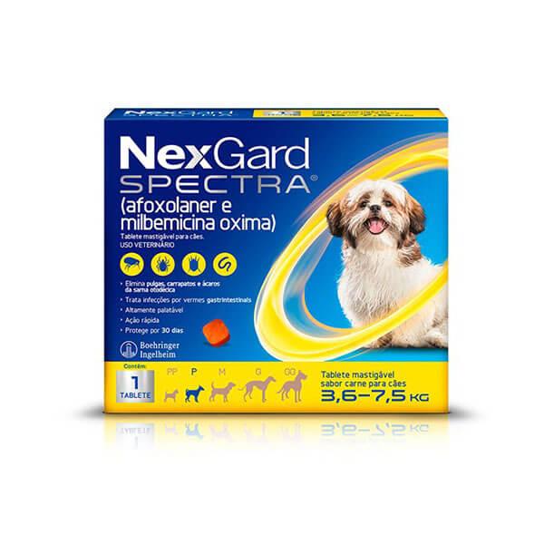 NexGard Spectra Antipulgas e Carrapatos para Cães de 3,6 a 7,5kg tablete sabor Carne