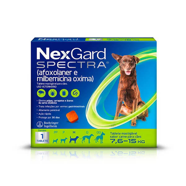 NexGard Spectra Antipulgas e Carrapatos para Cães de 7,6 a 15kg tablete sabor Carne