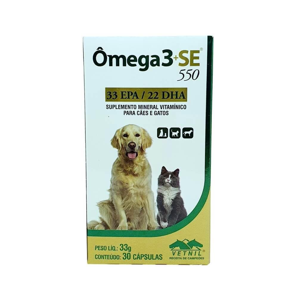 Ômega 3+SE 550 Suplemento Cães e Gatos Vetnil com 30 Capsulas