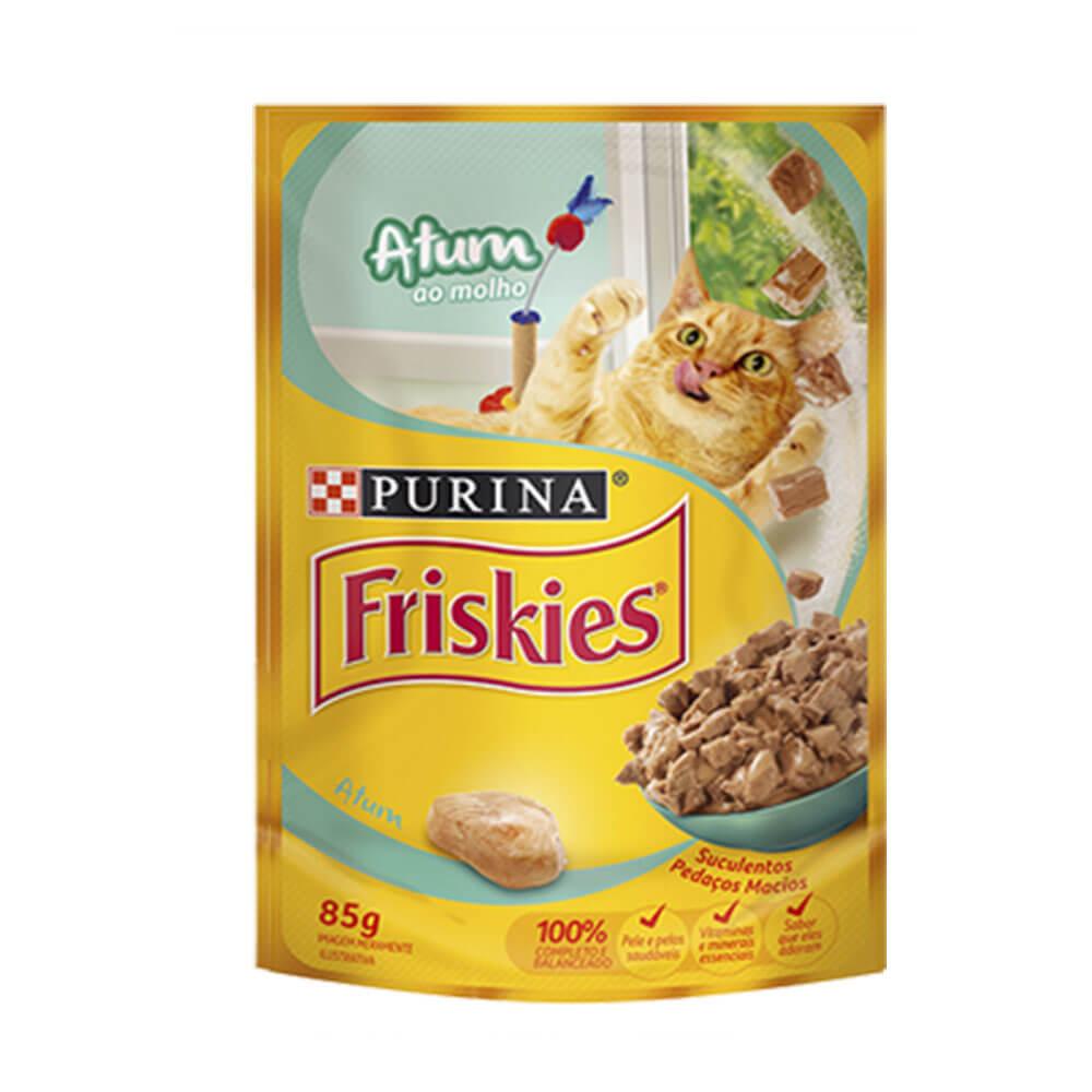 Ração Friskies Alimento Úmido para Gatos Adultos Atum ao molho Purina 85g